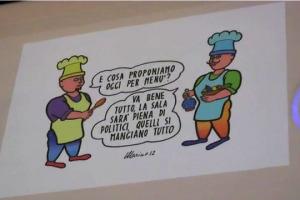 """Il cibo è tema serissimo, ma si può affrontare anche con un sorriso: ecco la """"Mostra Tiramisù"""", che al """"Cost Hub"""" di Milano, per Expo, vede esposte le vignette dedicate al cibo raccolte, da aprile 2012, dalla rivista """"Italia a Tavola"""""""