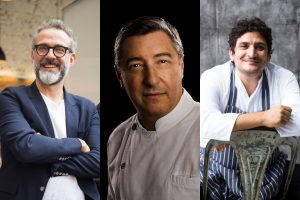 Bottura, Roca, Colagreco e il wine maker Roberto Cipresso in una charity dinner a New York