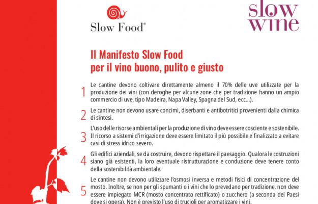 MANIFESTO, SLOW FOOD, vino, Italia