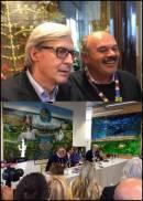 Oscar Farinetti e Vittorio Sgarbi ciceroni della mostra sui capolavori artistici italiani divisi per Regione nei padiglioni di Eataly ad Expo